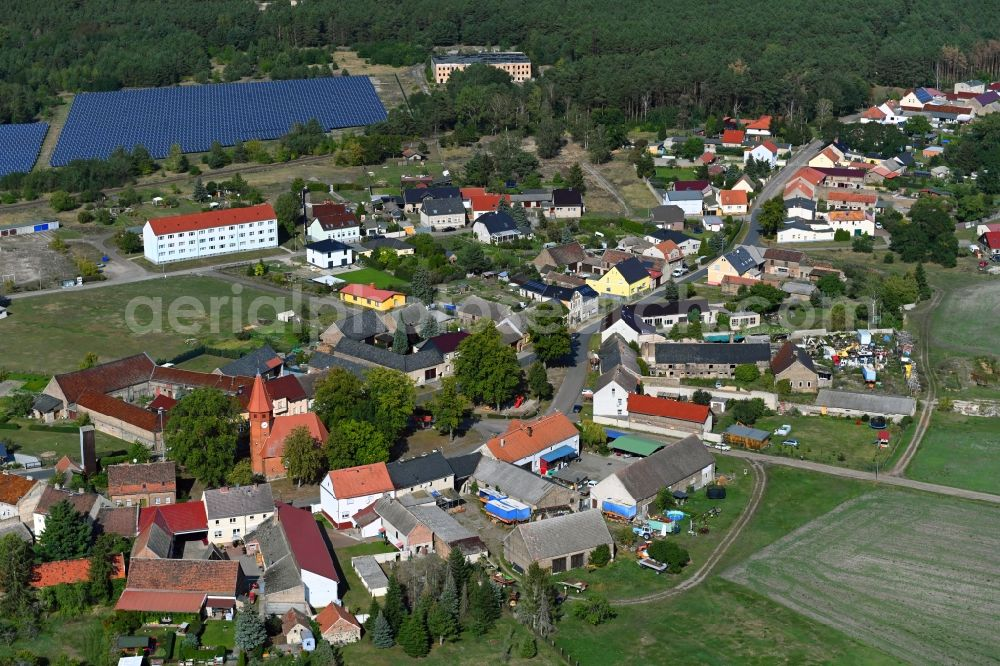 Aerial photograph Schönefeld - Town View of the streets and houses of the residential areas in Schoenefeld in the state Brandenburg, Germany