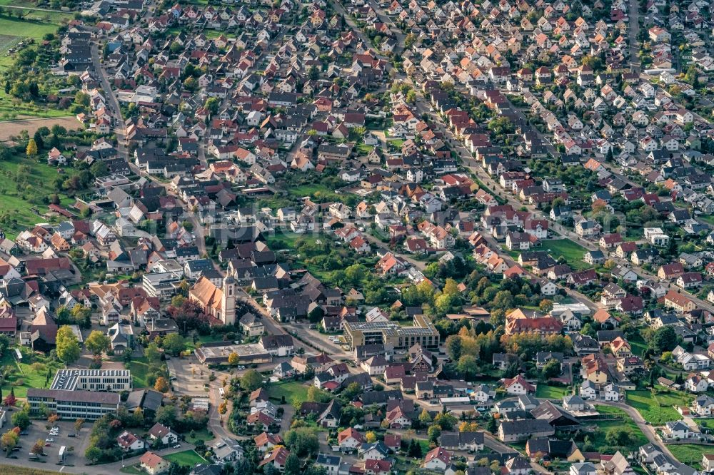 Aerial image Schutterwald - Town View of the streets and houses of the residential areas in Schutterwald in the state Baden-Wurttemberg, Germany