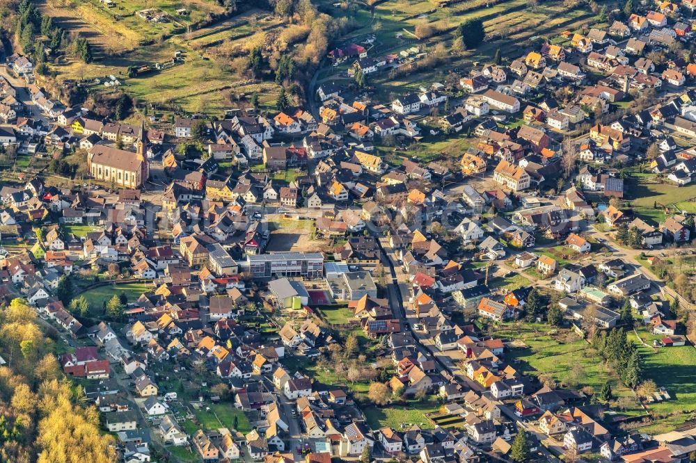 Sulz from above - Town View of the streets and houses of the residential areas in Sulz in the state Baden-Wurttemberg, Germany