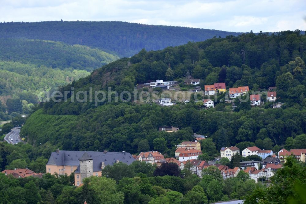 Aerial image Hann. Münden - Location view of the streets and houses of residential areas in the valley landscape surrounded by mountains in Hann. Muenden in the state Lower Saxony, Germany.