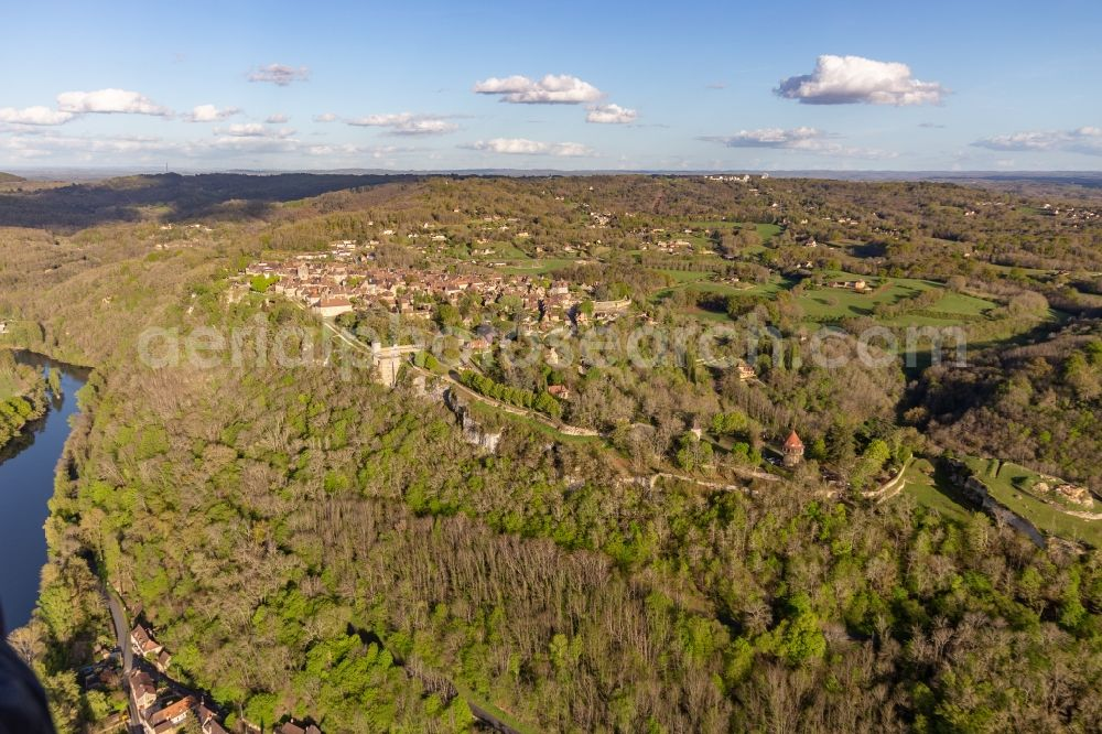 Aerial image Domme - Town over the banks of the river Dordogne in Domme in Nouvelle-Aquitaine, France