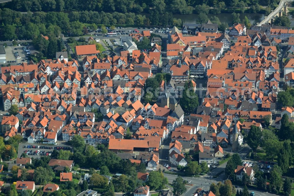 Melsungen from the bird's eye view: Village on the banks of the area Fulda - river course in Melsungen in the state Hesse