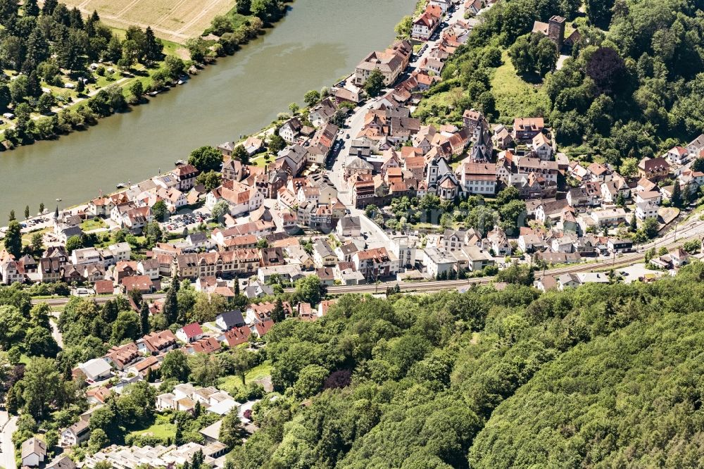 Neckarsteinach from above - Village on the banks of the area Neckar - river course in Neckarsteinach in the state Hesse, Germany