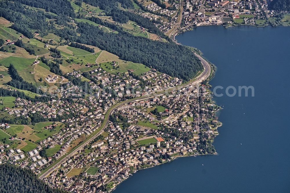 Hergiswil from above - Village on the banks of the area of Vierwaldstaettersee in Hergiswil in the canton Nidwalden, Switzerland