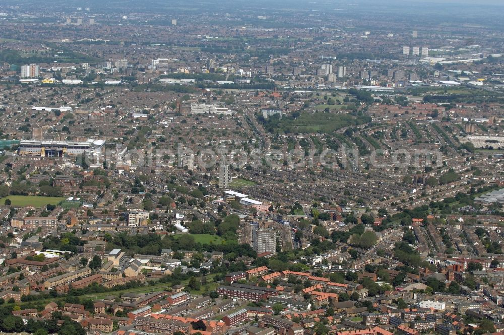 Aerial photograph London - View over the east end of London and to the football stadium Boleyn Ground in the district Upton Park in London in the county of Greater London in the UK. The Boleyn Ground is the home ground of West Ham United