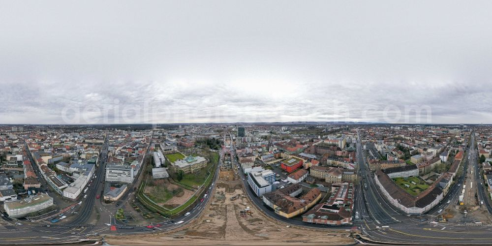 Karlsruhe from above - Circumferential , horizontally adjustable 360 degree perspective construction site with tunnel guide for the route of Kriegsstrasse in the district Suedweststadt in Karlsruhe in the state Baden-Wurttemberg, Germany