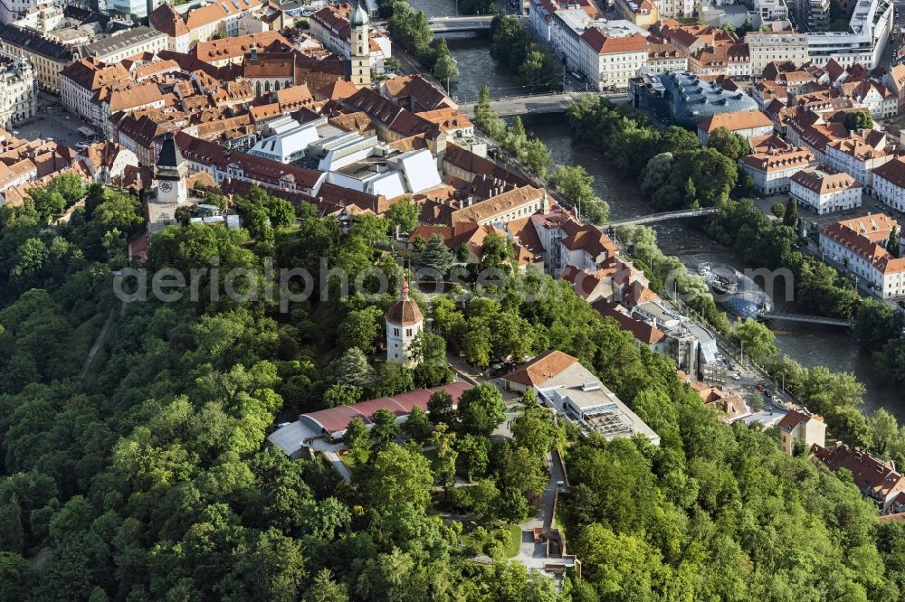 Graz from above - Park of Schlossberg in Graz in Steiermark, Austria