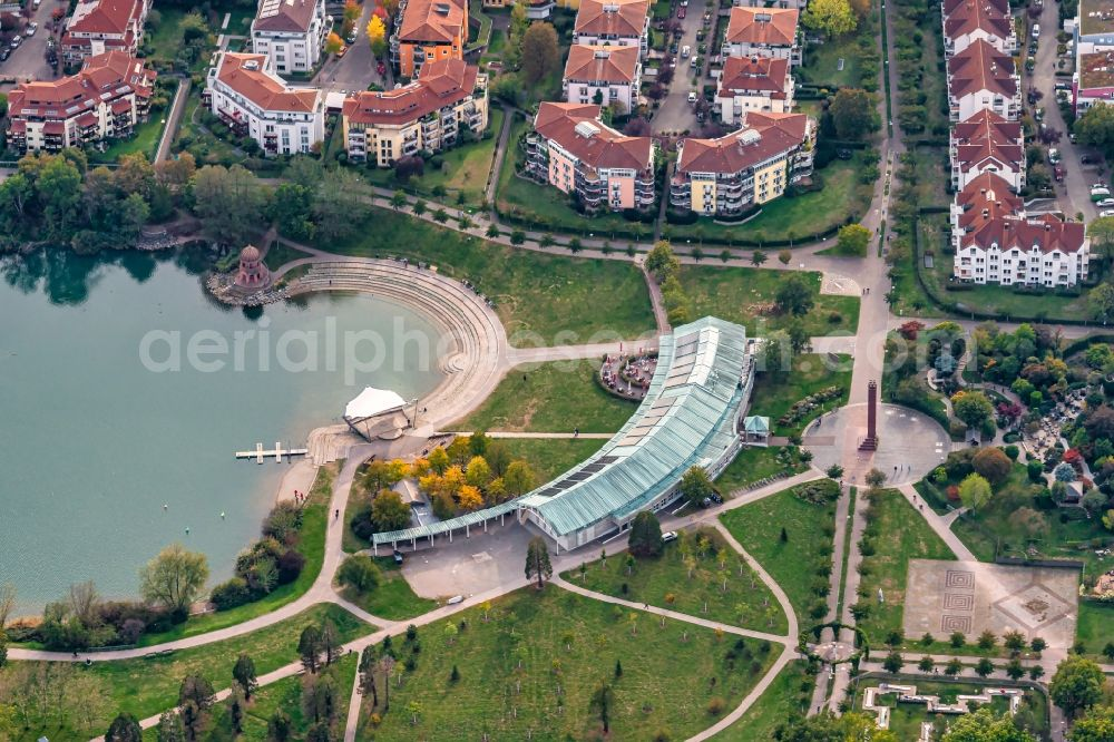 Aerial image Freiburg im Breisgau - Seepark with lake Flueckigersee on the area of the former State Garden Show in the district Betzenhausen in Freiburg im Breisgau in the state Baden-Wurttemberg, Germany