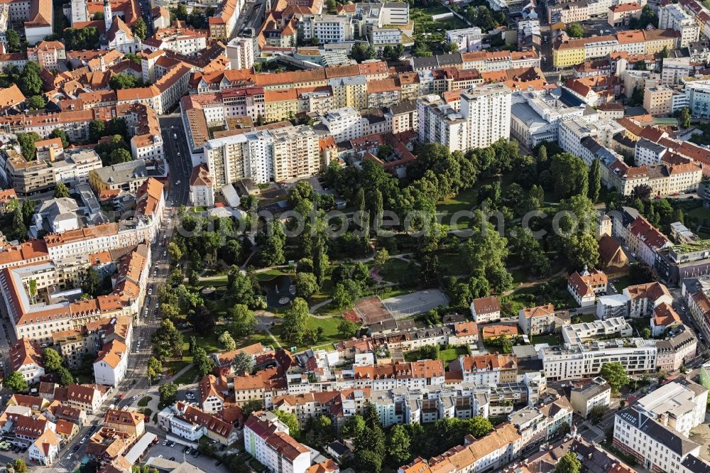 Graz from above - Park of Volksgarten Graz in Graz in Steiermark, Austria.