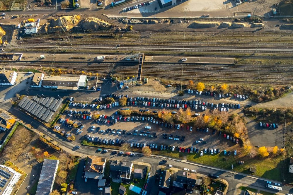 Aerial image Haltern am See - Parking and storage space for automobiles at the train station in Haltern am See in the state North Rhine-Westphalia, Germany