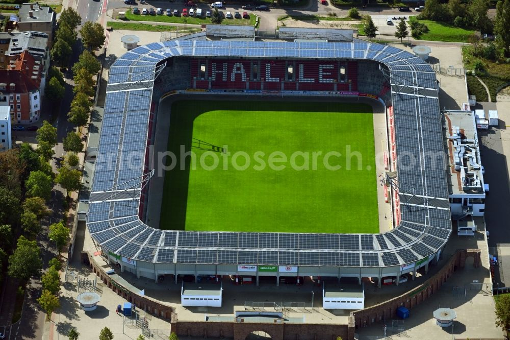 Halle (Saale) from the bird's eye view: Photovoltaic solar power plant on the roof of stadium Erdgas Sportpark in Halle (Saale) in Sachsen-Anhalt