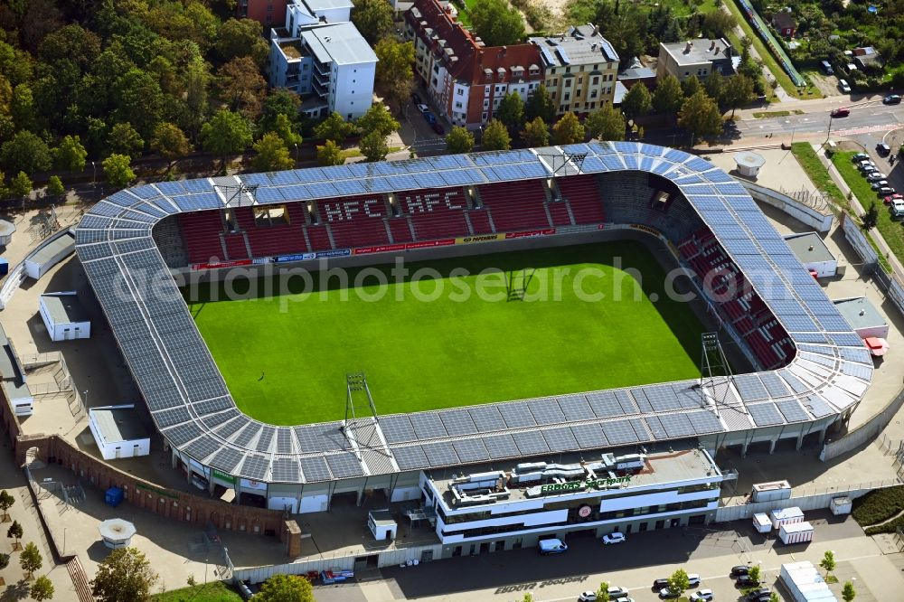 Aerial image Halle (Saale) - Photovoltaic solar power plant on the roof of stadium Erdgas Sportpark in Halle (Saale) in Sachsen-Anhalt
