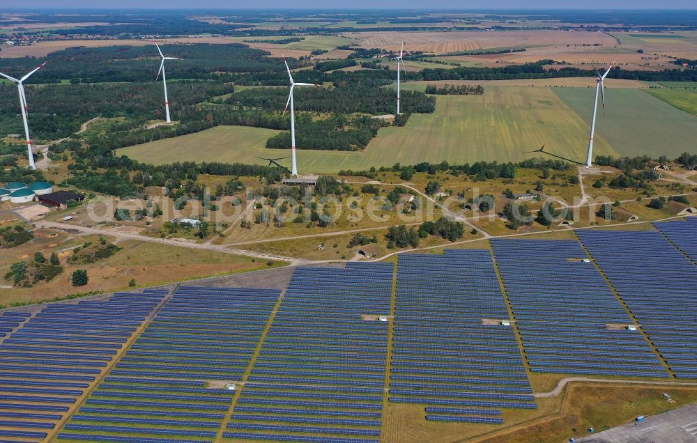 Aerial image Zerbst/Anhalt - Zerbst airfield and solar power plant - photovoltaic park and wind farm on the open spaces of Zerbst airfield in the state of Saxony-Anhalt