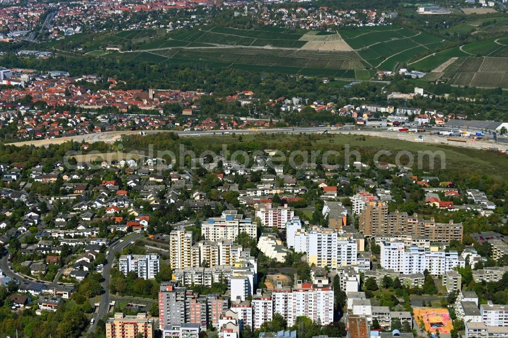 Aerial image Würzburg - Skyscrapers in the residential area of industrially manufactured settlement in the district Heuchelhof in Wuerzburg in the state Bavaria, Germany