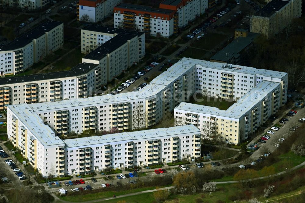 Berlin from above - Skyscrapers in the residential area of industrially manufactured settlement Wartiner Strasse - Passower Strasse in the district Hohenschoenhausen in Berlin, Germany
