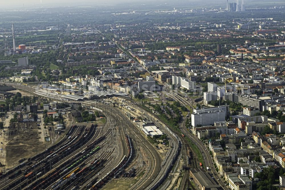 Aerial image Halle (Saale) - Marshalling yard and freight station of the Deutsche Bahn overlooking the city in Halle (Saale) in the state Saxony-Anhalt, Germany