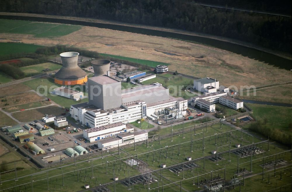 Beverungen from the bird's eye view: Building remains of the reactor units and facilities of the NPP nuclear power plant in the district Wuergassen in Beverungen in the state North Rhine-Westphalia, Germany
