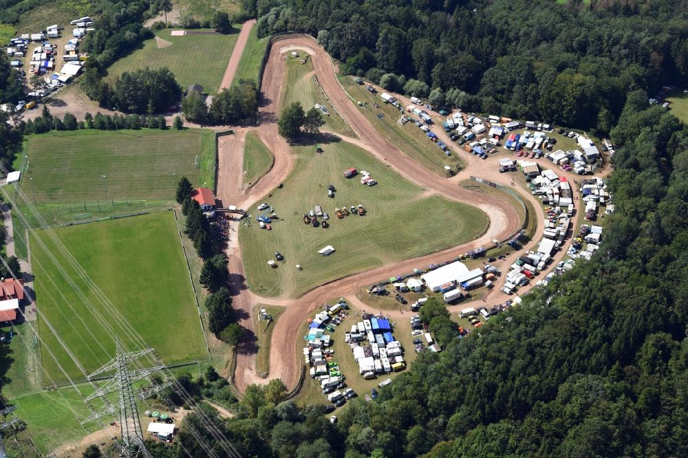 Albbruck from the bird's eye view: Race event and international autocross race in the sandpit in the district Schachen in Albbruck in the state Baden-Wurttemberg, Germany.