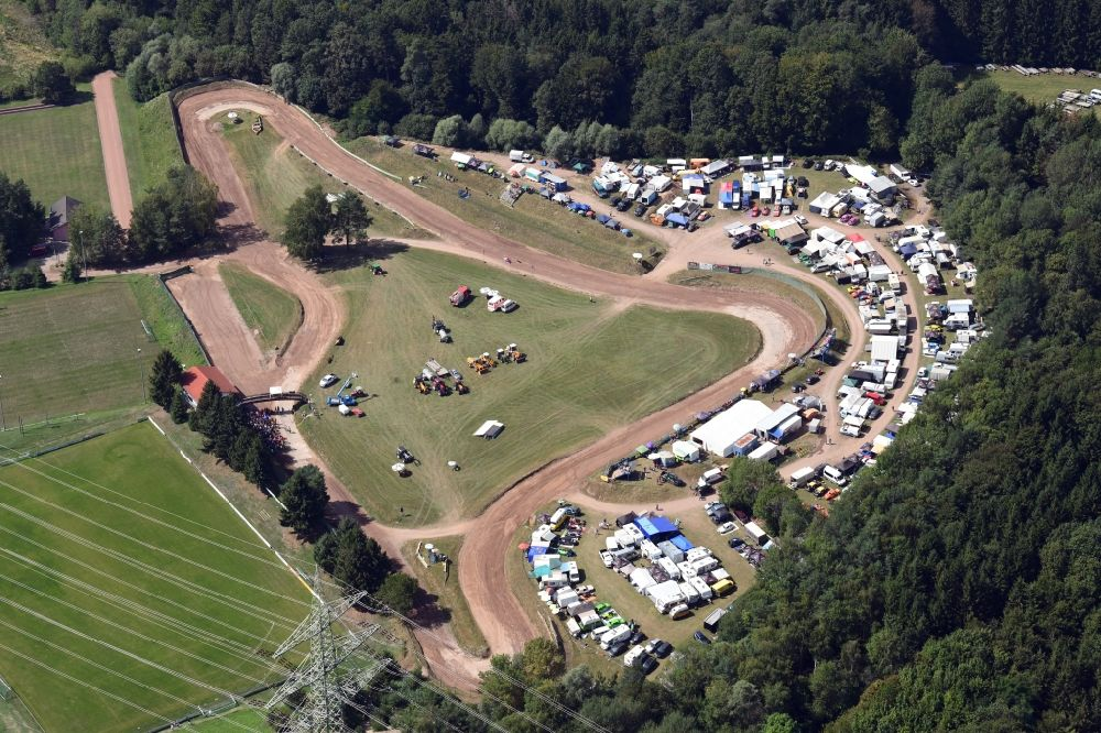 Aerial image Albbruck - Race event and international autocross race in the sandpit in the district Schachen in Albbruck in the state Baden-Wurttemberg, Germany.
