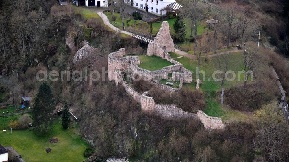 Aerial image Gerolstein - Ruins and vestiges of the former castle and fortress Loewenburg in Gerolstein in the state Rhineland-Palatinate, Germany