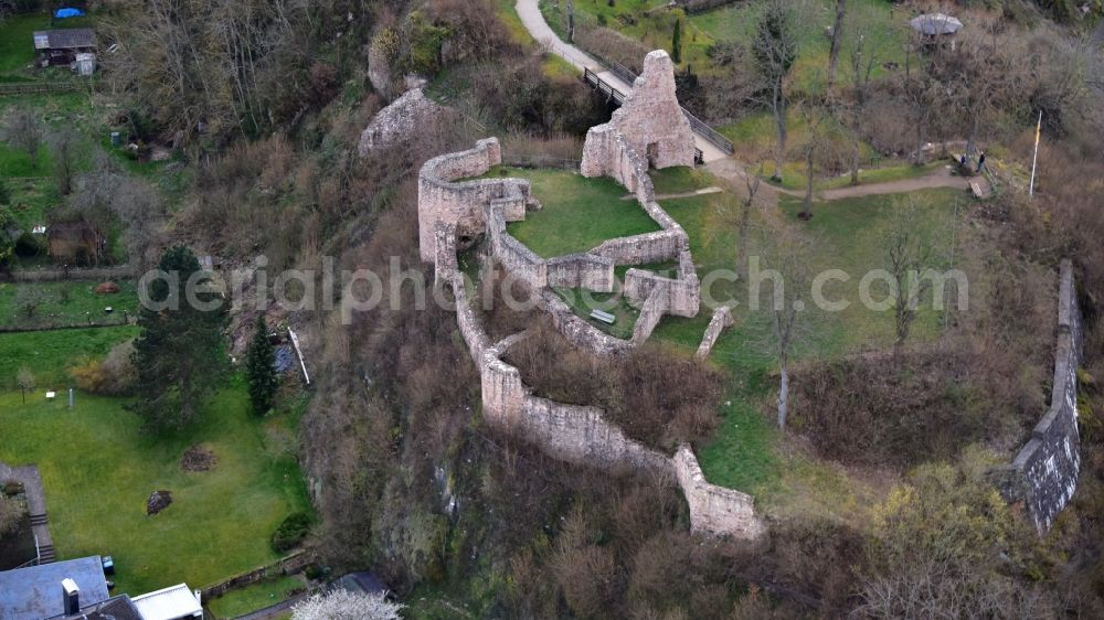 Gerolstein from above - Ruins and vestiges of the former castle and fortress Loewenburg in Gerolstein in the state Rhineland-Palatinate, Germany