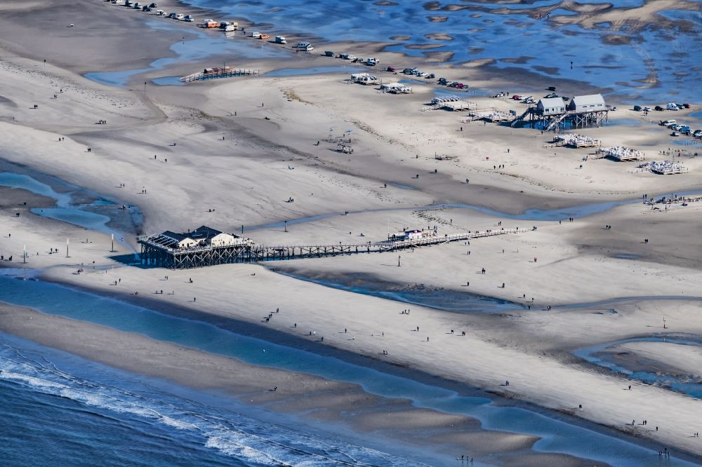Aerial image Sankt Peter-Ording - Beach landscape on the North Sea coast in the district Sankt Peter-Ording in Sankt Peter-Ording in the state Schleswig-Holstein
