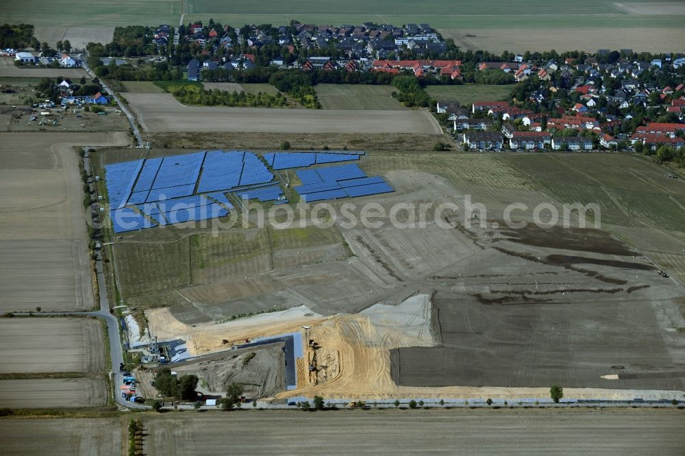 Großziethen from above - Renovation, sealing and restoration work on the site of the refurbished landfill Deponie Grossziethen in Grossziethen in the state Brandenburg, Germany