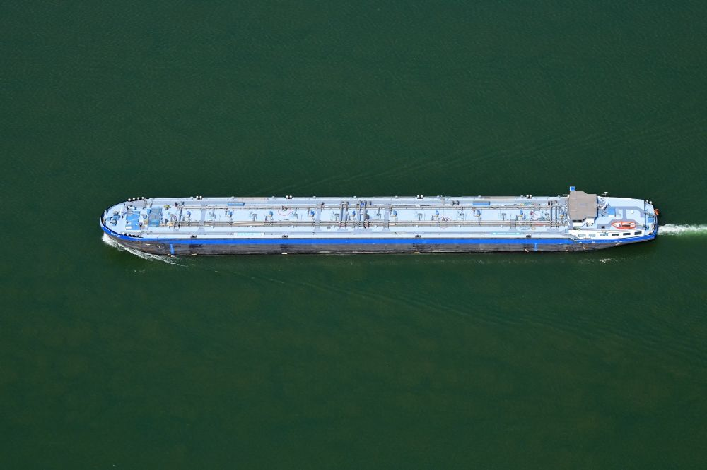 Aerial photograph Weil am Rhein - Tanker ship on the waterway of the river Rhine in Weil am Rhein in the state Baden-Wuerttemberg, Germany