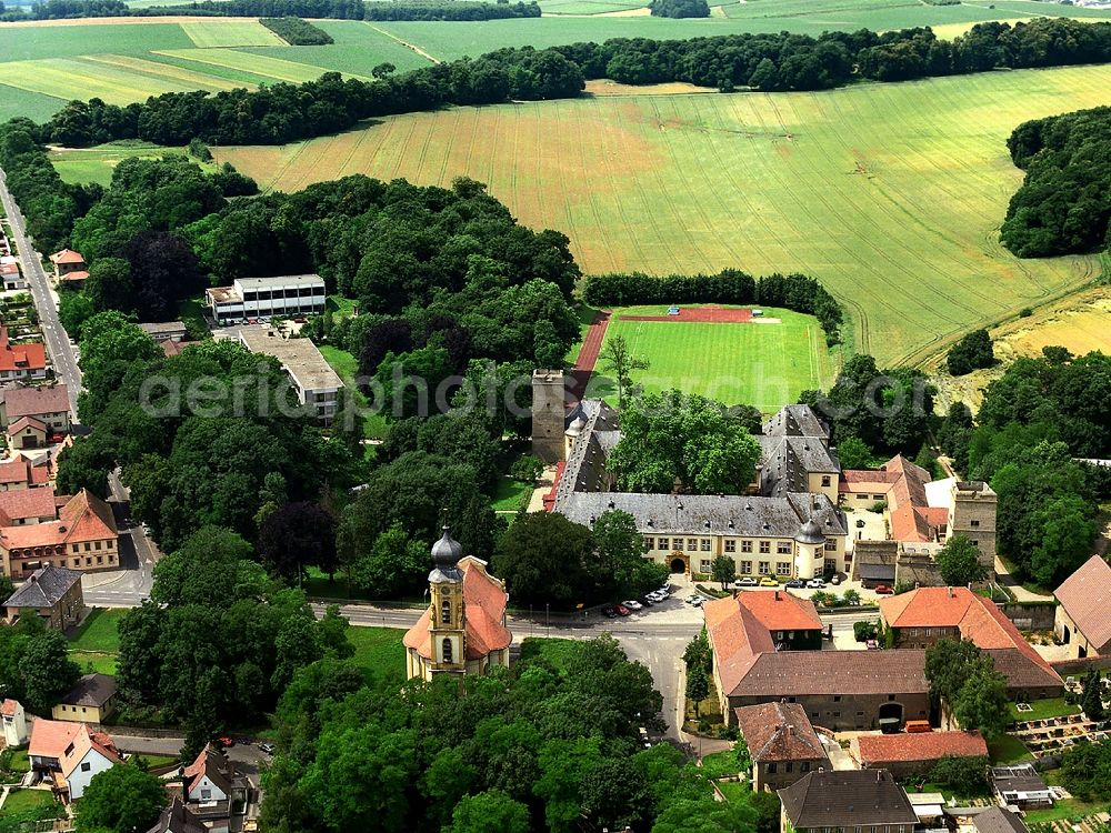 Aerial photograph Gaibach - School building of the Franconia country school home in the castle Gaibach in Lower Franconia in the state Bavaria, Germany