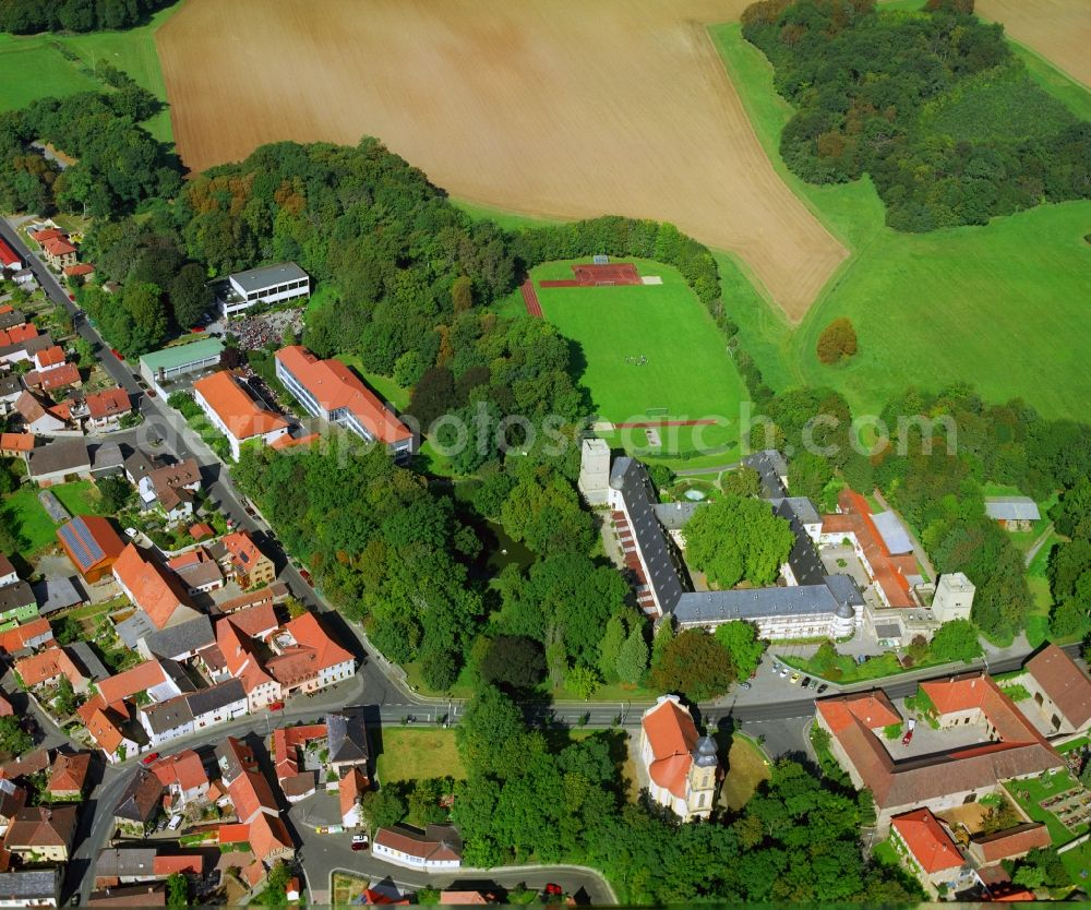 Gaibach from above - School building of the Franconia country school home in the castle Gaibach in Lower Franconia in the state Bavaria, Germany