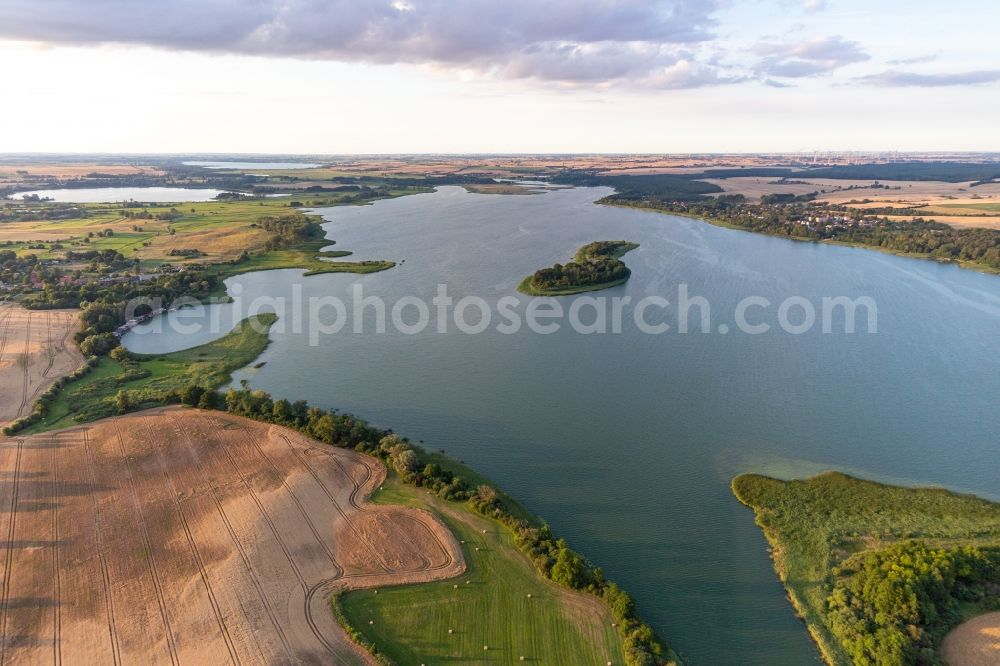 Oberuckersee from above - Lake Island in the Oberuckersee in the state Brandenburg, Germany
