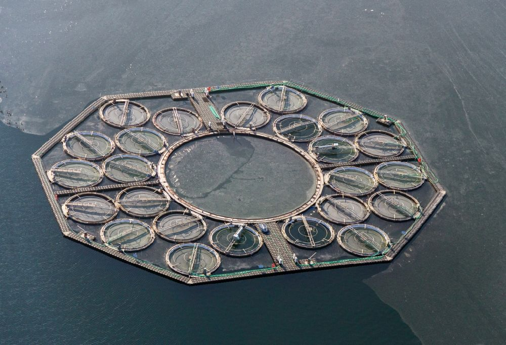 Aerial photograph Stechlin - See laboratory on the water surface of the Stechlinsee in the state of Brandenburg. Further information at: Leibniz-Institute of Freshwater Ecology and Inland Fisheries (IGB).