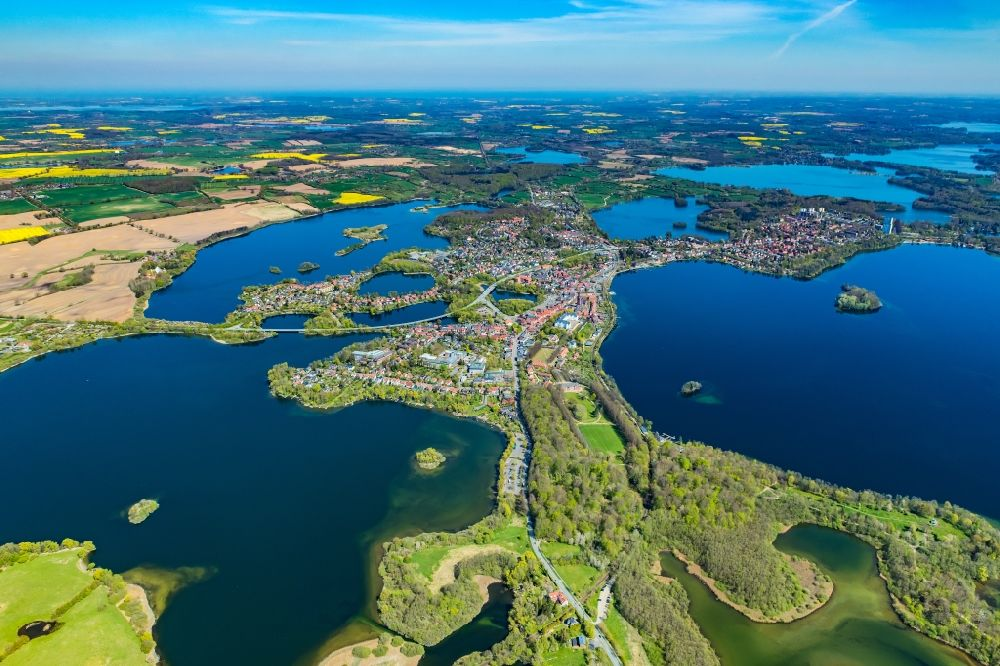 Plön from above - Lakes chain and bank areas of the Ploener lakes in Ploen in the federal state Schleswig-Holstein