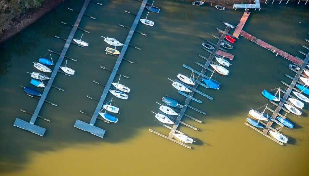 Aerial photograph Haltern am See - Sailboat in the harbor in Haltern am See in the state North Rhine-Westphalia, Germany.