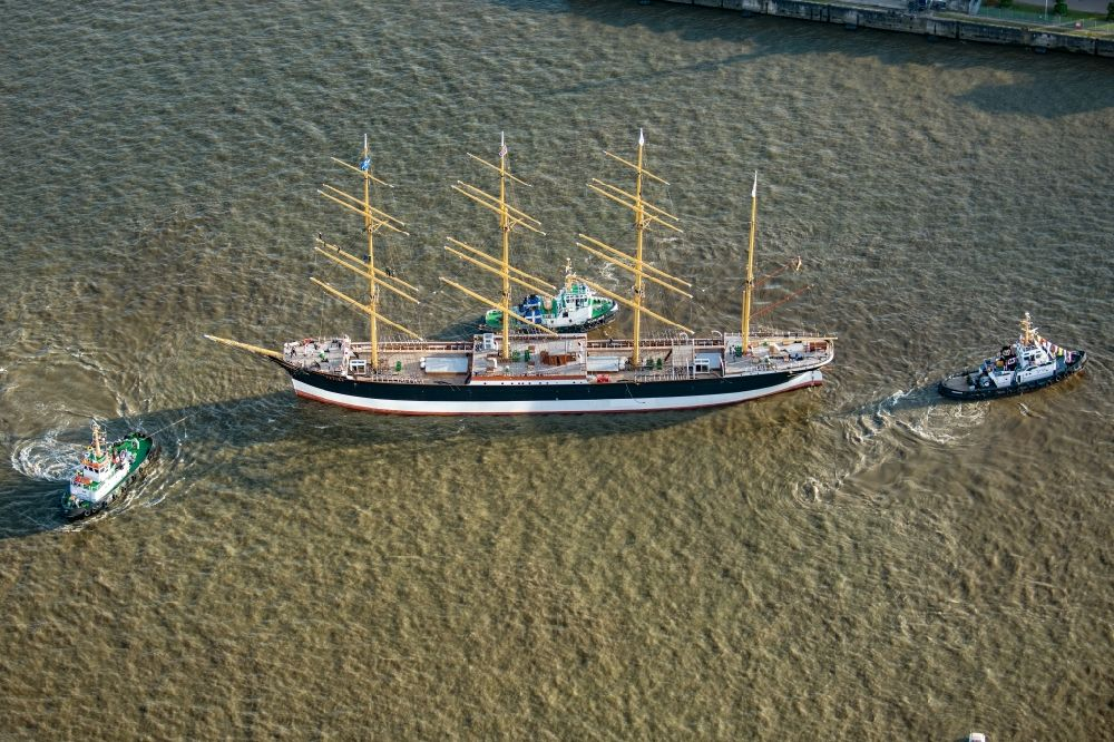 Aerial photograph Hamburg - Sailing ship and four-masted barque a