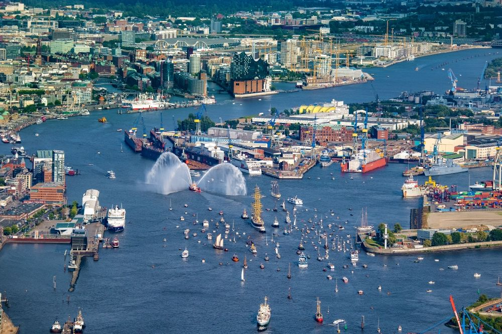 Aerial image Hamburg - Sailing ship and four-masted barque a