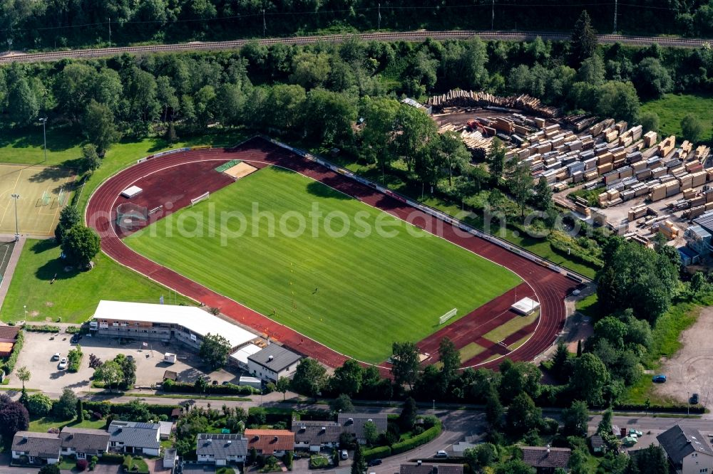 Titisee-Neustadt from above - Sports grounds and football pitch Jahnstadion in Titisee-Neustadt in the state Baden-Wuerttemberg, Germany