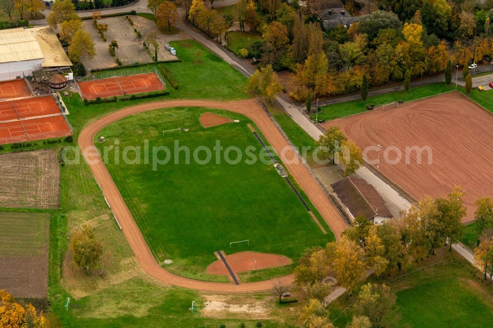 Aerial image Meißenheim - Sports grounds and football pitch in Meissenheim in the state Baden-Wurttemberg, Germany.