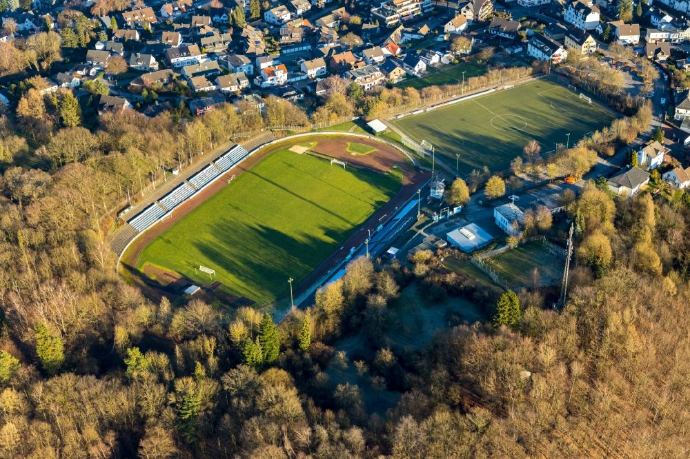 Ennepetal from above - Sports grounds and football pitch of TuS Ennepetal 1911 e.V. in Ennepetal in the state of North Rhine-Westphalia