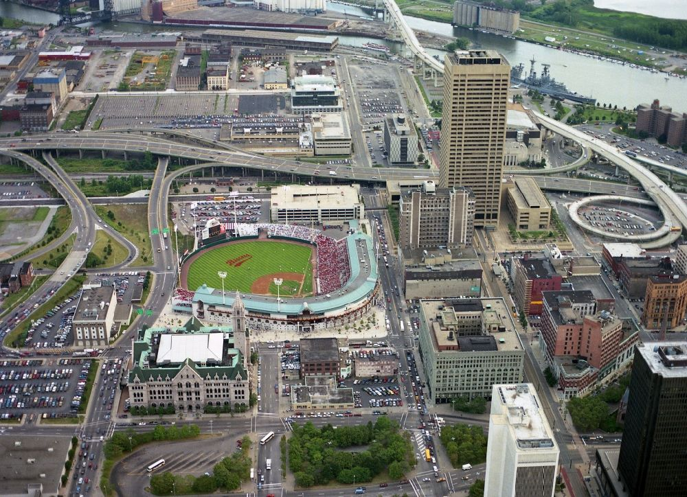 Buffalo from above - Sports facility grounds of the Arena Buffalo Bisons Baseball Stadium in Buffalo in New York, United States of America