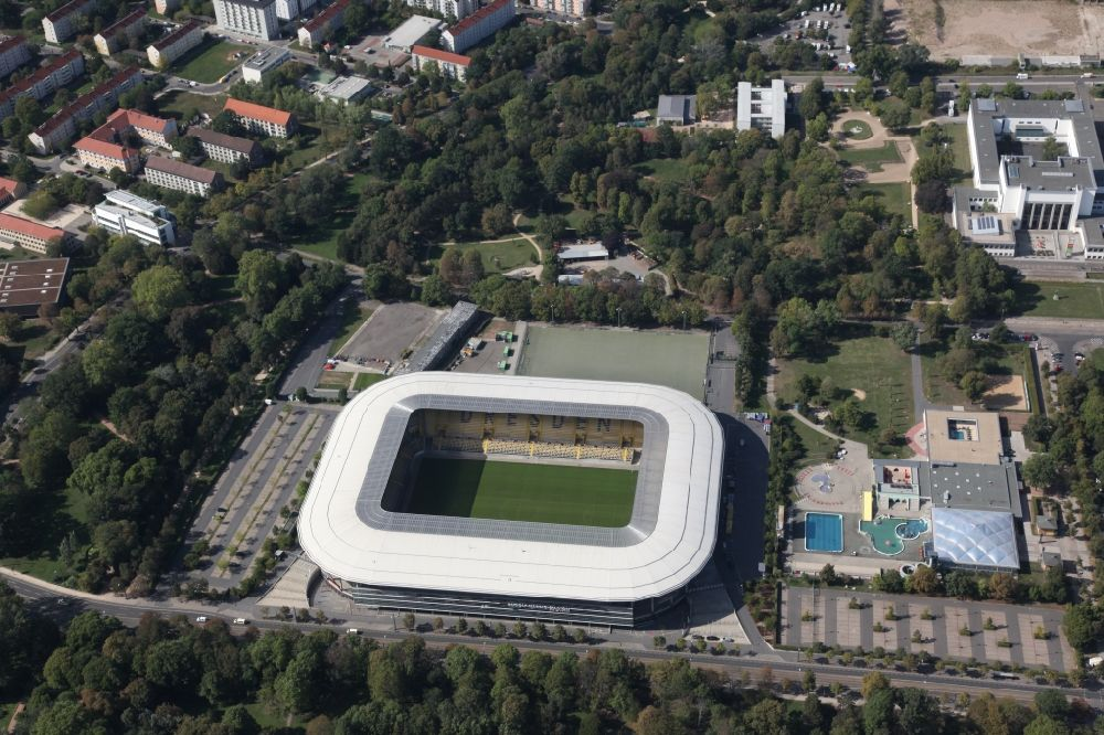 Aerial image Dresden - Sports facility grounds of the Arena stadium DDV-Stadion in Dresden in the state Saxony. The owner of the Dynamo Dresden venue, designed by the Beyer Architects, is the city of Dresden