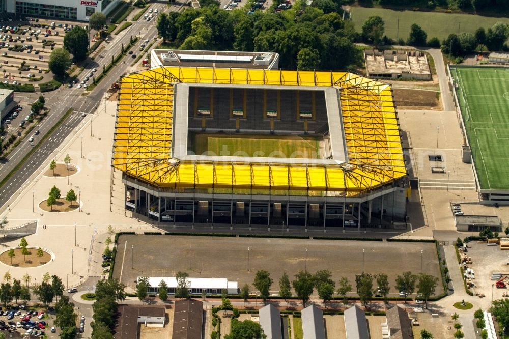 Aerial photograph Aachen - Sports facility grounds of the Arena stadium in Aachen in the state North Rhine-Westphalia