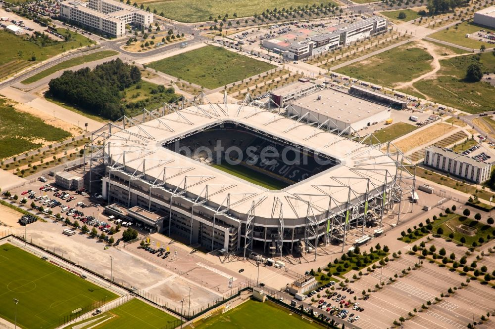 Aerial image Mönchengladbach - Sports facility grounds of the Arena stadium BORUSSIA-PARK in Moenchengladbach in the state North Rhine-Westphalia, Germany