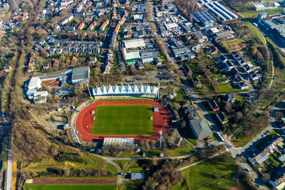 Aerial image Bochum - Sports facility grounds of the Arena stadium Lohrheidestadion in the district Wattenscheid in Bochum in the state North Rhine-Westphalia
