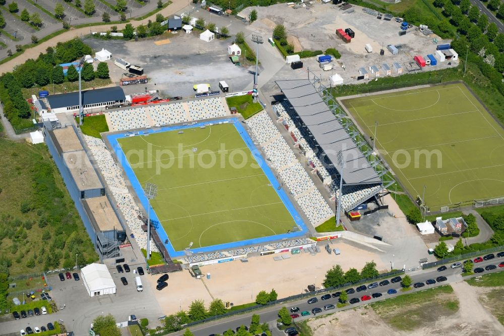 Mönchengladbach from above - Sports facility grounds of the Arena stadium SparkassenPark Moenchengladbach Am Hockeypark in Moenchengladbach in the state North Rhine-Westphalia, Germany
