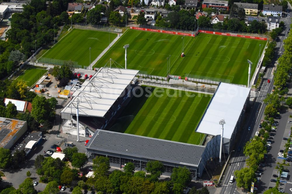 Mainz from above - Sports facility grounds of the arena of the stadium Stadion am Bruchweg in Mainz in the state Rhineland-Palatinate, Germany