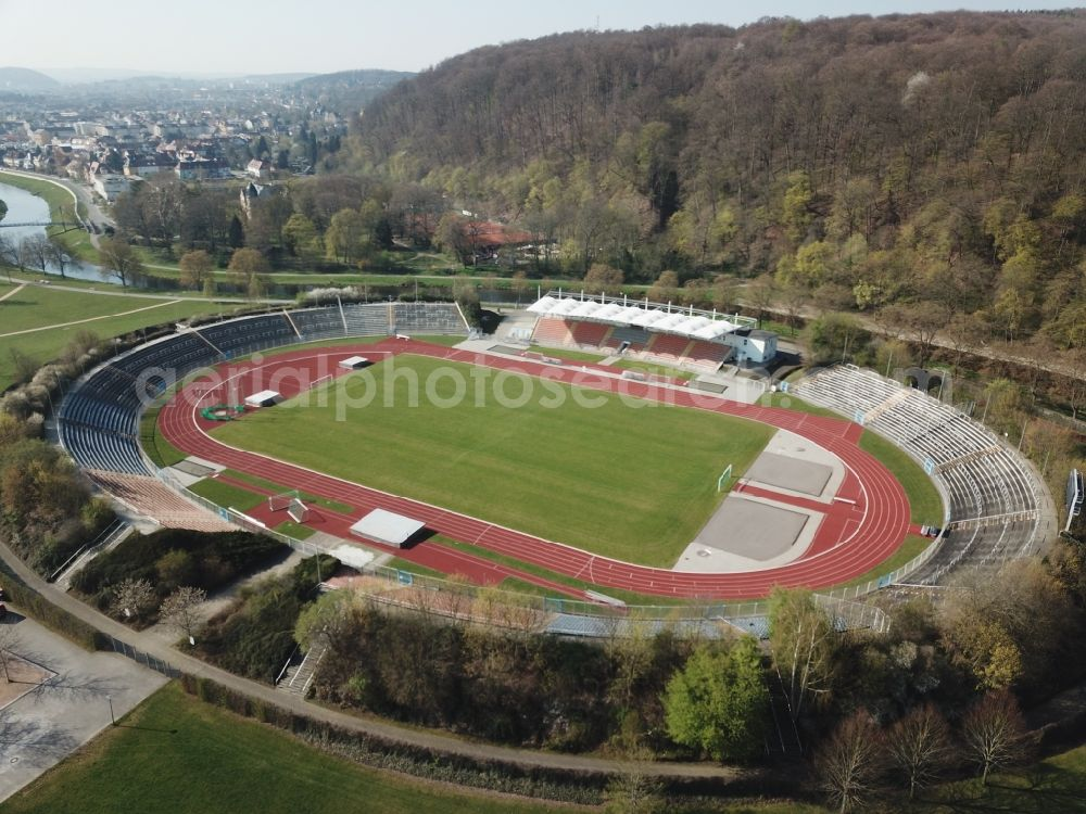 Aerial photograph Gera - Sports facility grounds of the Arena stadium Stadion of Freandschaft of BSG Wismut Gera on park Hofwiesenpark in Gera in the state Thuringia, Germany