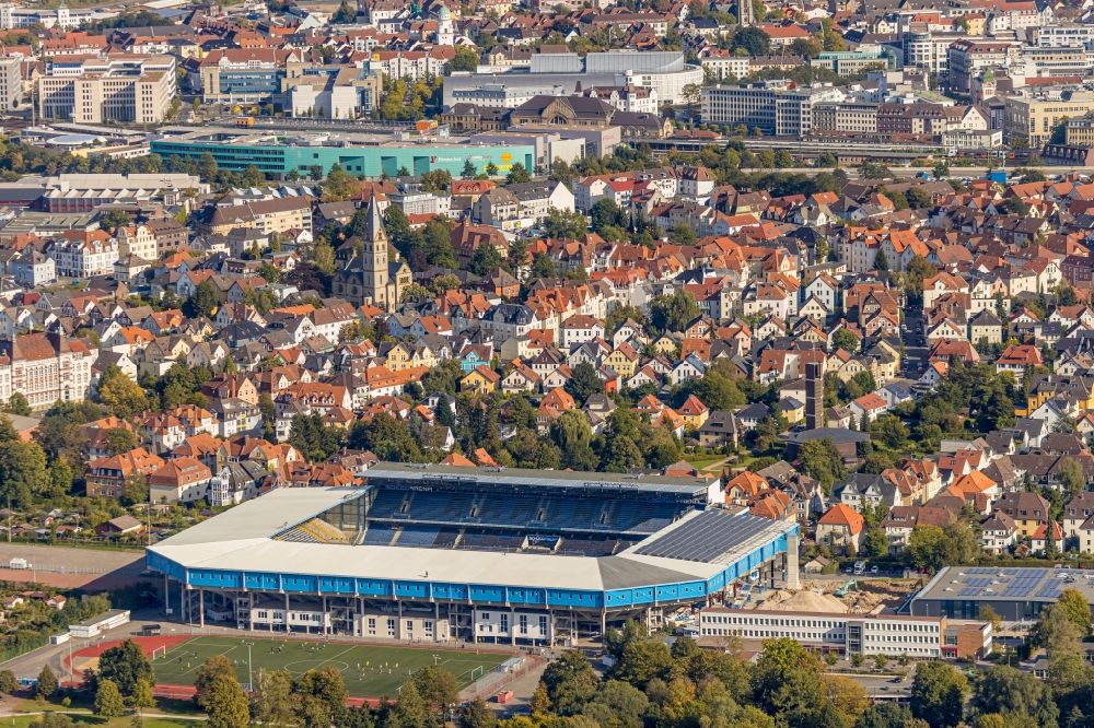 Bielefeld from above - Sports facility grounds of the Arena stadium SchuecoArena on Melanchthonstrasse in Bielefeld in the state North Rhine-Westphalia, Germany
