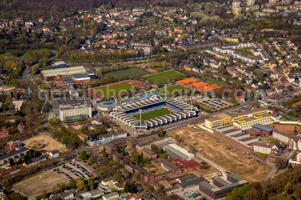 Bochum from the bird's eye view: Sports facility grounds of the Arena stadium rewirpowerSTADION formerly Ruhrstadion on Castroper Strasse in Bochum in the state North Rhine-Westphalia. Further information at: VfL Bochum 1848 GmbH & Co. KGaA.
