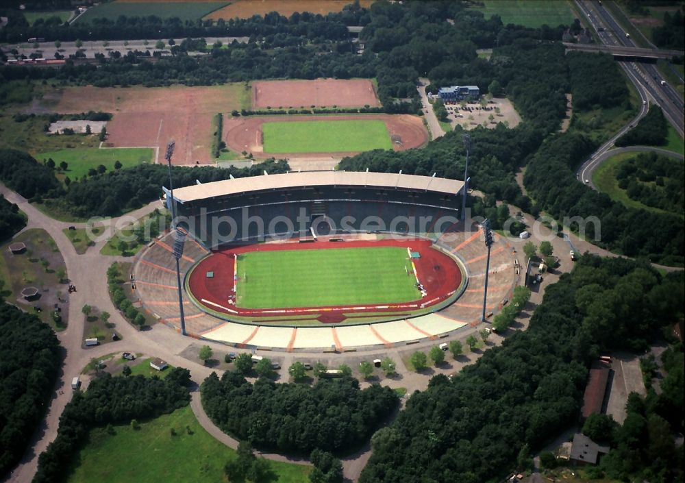 Gelsenkirchen from the bird's eye view: Sports facility grounds of stadium Glueckauf in Gelsenkirchen in the state North Rhine-Westphalia, Germany